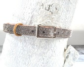 """Dog Collar - Leather and Wool Felt - Small 9""""-11"""" - Heather Brown"""