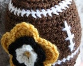 Toddler girl's football beanie with scalloped edge and team flower - your choice of team (2T-5T size)