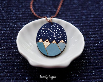 "Wood Laser cut Pendant starry sky with the constellation ""Ursa Major"""