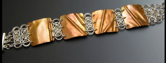 Hammered copper and sterling silver chainmaille bracelet in caramel hues