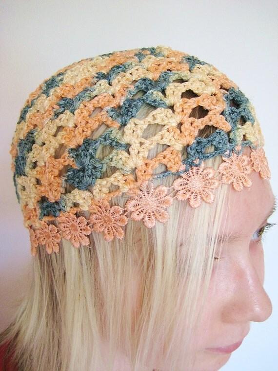 Crochet beanie hat, summer hat peachy colors, HIPPIE romantic laced up beanie.