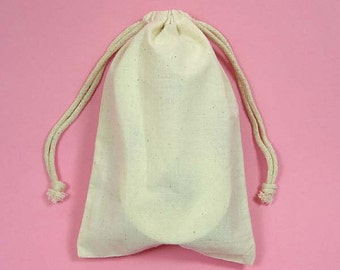 "24 3""x4"" Muslin Bags with Drawstring"