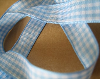 15mm - Baby Blue Gingham Ribbon - 5 metre pack