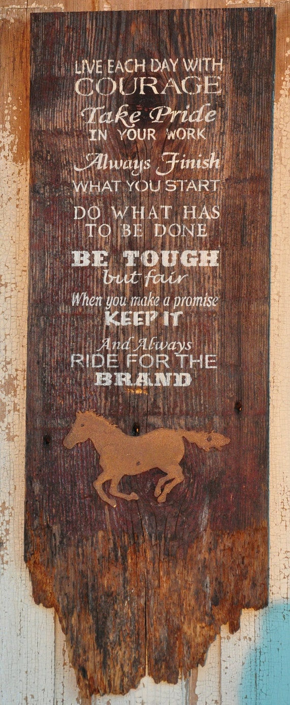Rustic Western Hand Painted Old Barnwood Ride For The Brand Wall Hanging Western Wood Sign