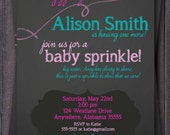 Chalkboard style Baby Sprinkle, Baby Shower, Sip & See Invitation.  Bird, Pink, Turquoise, Custom.  Baby Girl.  Boy.