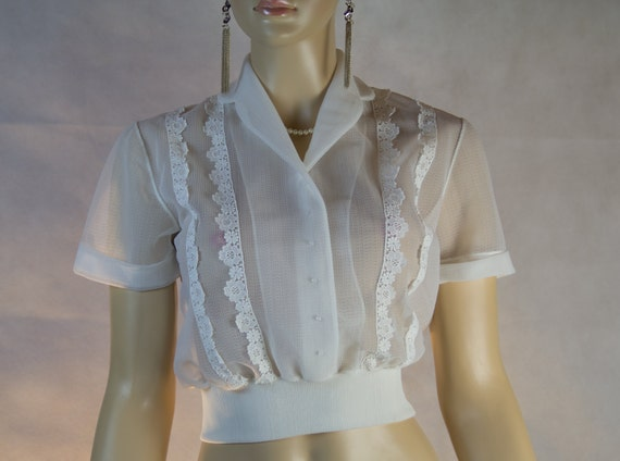1950 s see through blouse white lace by dreamdatecollection