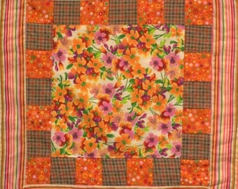 Orange Floral Quilt Wall Hanging