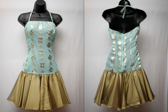 Vintage Short Dress Seafoam Green and Gold Womens 80s Homecoming Party Dress