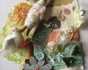SALE Vintage dove and millinery flowers and goodies crafting pack