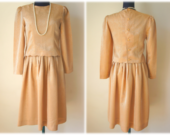 Sale 30% OFF from 64 US to 44.8 US - 1950's Bridesmaid Dress Classic Glamorous Golden Silk Satin