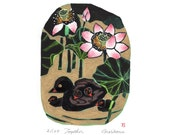 Water Bird  lotus flower Woodblock Original Art Print