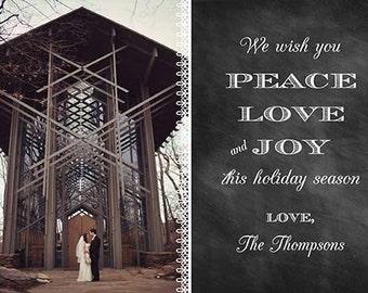 Chalkboard Christmas Holiday Photo Card - peace love and joy this holiday season