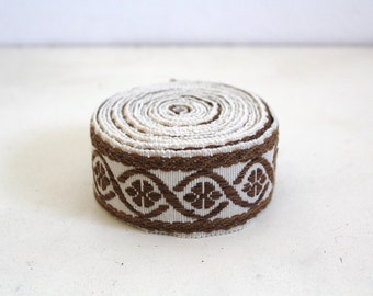 SALE 50 OFF Vintage Brocade Cotton Ribbon Trim Brown and Beige