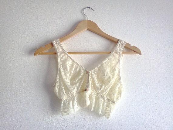 Vintage Lace Bra Beige Underwear Eveteam