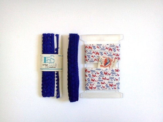Vintage Supply Sewing Set Trim Blue Red Gift Wrap Christmas