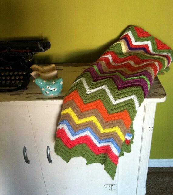 Vintage Chevron Granny Afghan Blanket Multicolored
