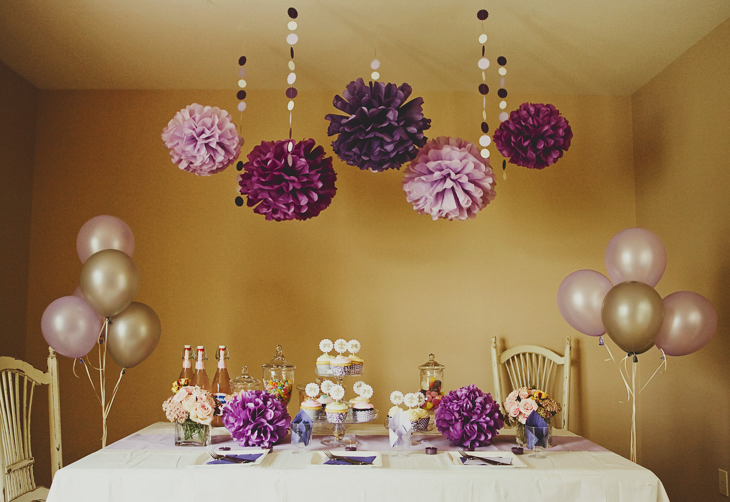 Purple party shower diy decoration package by bubblynewyork for 21st birthday decoration packages