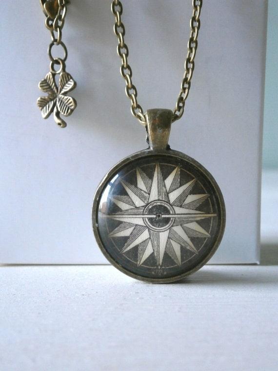 Nautical Compass Pendant Necklace Jewellery - Vintage Nautical Altered Art