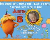 Lorax Theme Birthday Party Invitation