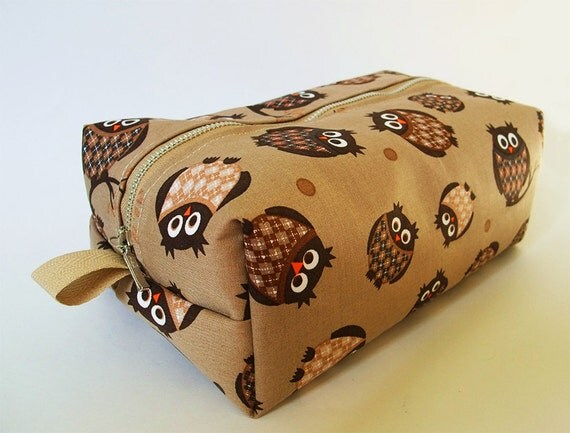 Toiletry Bag Owl - Cosmetic Pouch - Travel Bag - Boxy