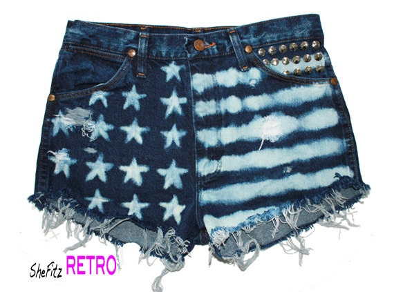 High Waisted Bleached American Flag Cut off Distressed Shorts