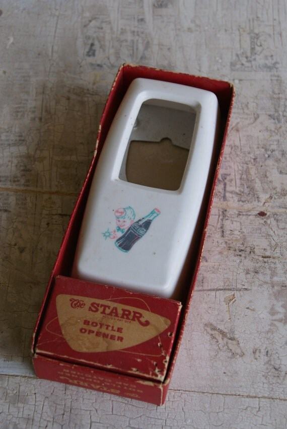Vintage Advertising Plastic 1950s Coca Cola Sprite Boy Bottle Opener and Cap Catcher With Box