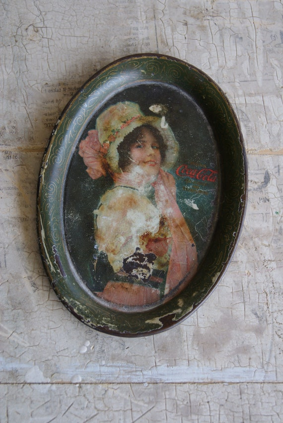 1914 Coca Cola Tip Tray With Picture Of Victorian Era Woman In Bonnet Or Hat