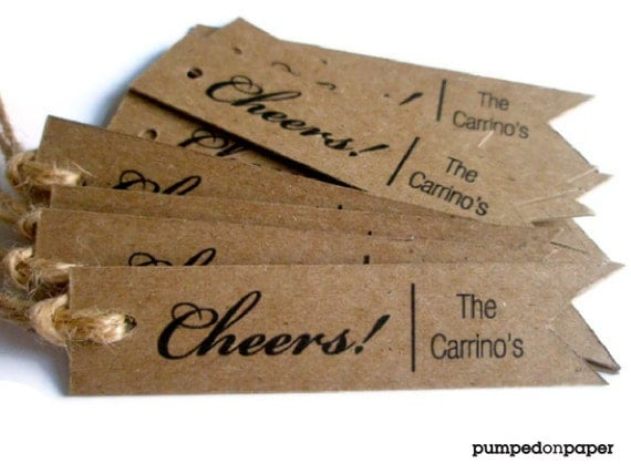 cheers personalized gift tags - custom wedding favor tags - thank you gift tag - baby shower - bridal shower - christmas - set of 20 - TA01
