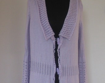 Knit long cardigan // Hand knitted knee-length cardigan / Hand-Knitted long cardigan Size: MEDIUM