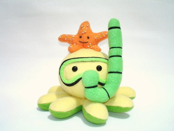 Made-to-order plush octopus toy with snorkel and starfish friend in yellow, green, and orange fleece