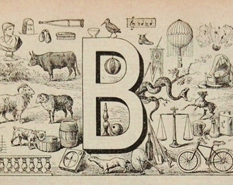 Antique French Dictionary Page - Initial - The Letter B Page - Alphabet - Original Engraved Lithograph 1937