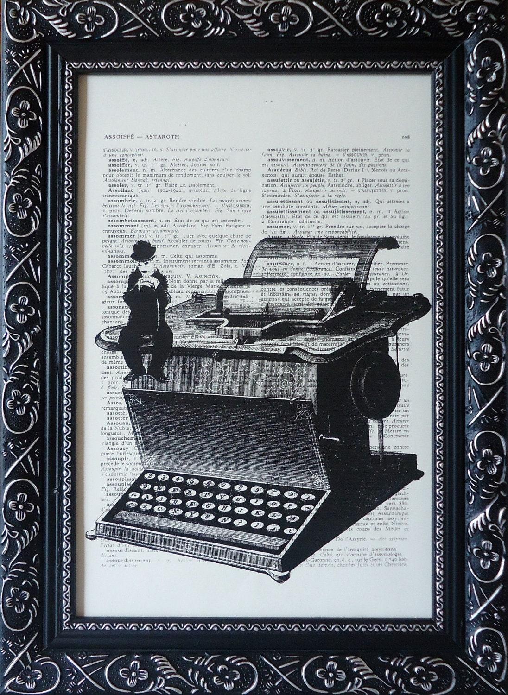 Art Charlie chaplin print sitting on a typewriter by ...