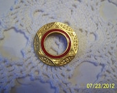 """Vintage Freirich Circle Brooch-Signed-Gold Plated Metal with Red Enamel Inner Circle and Embellishing-1"""" in diameter-very nice brooch"""