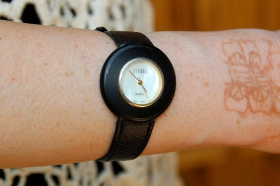 Classy Gitano Black and Gold Leather Watch