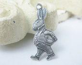 Shop Closing Sale! 5 pcs Silver Ox White Rabbit Charm Pendant Alice in Wonderland 23x10mm CM012-SO
