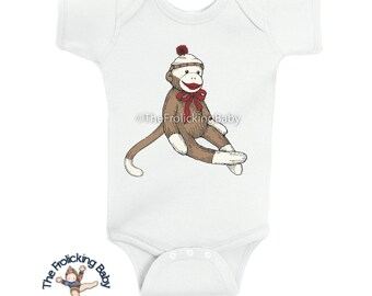 For Baby - 100% Cotton Bodysuit with Classic Sock Monkey Image