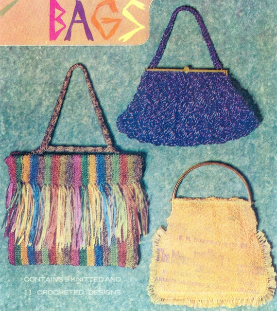PDF Vintage Knitting and Crochet Pattern Book - Bags, Head Pieces, Collars, Doilies(Swiss Straw Bags)
