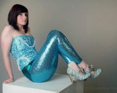 Blue Full Sequined Legging's with Metallic Waist Band
