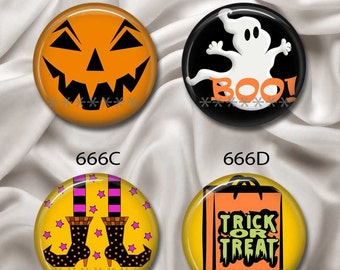 "Cutesy Halloween - Interchangeable Magnetic Design Inserts - FIT Clique and Magnabilities 1"" Jewelry Bases...666"