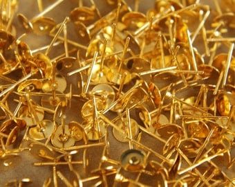 100 pc. Gold plated earring posts, 6mm pad, Nickel-free | FI-010
