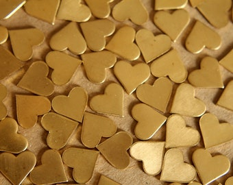 16 pc. Raw Brass Heart: 13mm by 12mm - made in USA - RB-091