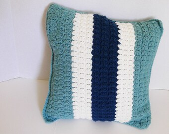 Complete Throw Pillow Beach Home Decor Decorative Sea Green, Cream and Dark Teal Blue Stripes Crochet