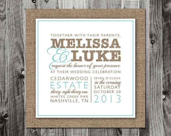 Wedding Invitations With Burlap: Items Similar To Modern Printed Burlap Wedding Invitation