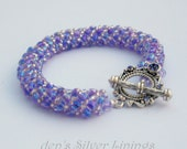 Purple and Silver Beadwoven Bracelet with Pewter Toggle Clasp, Swarovski Crystals, Handcrafted Russian Spiral Stitch