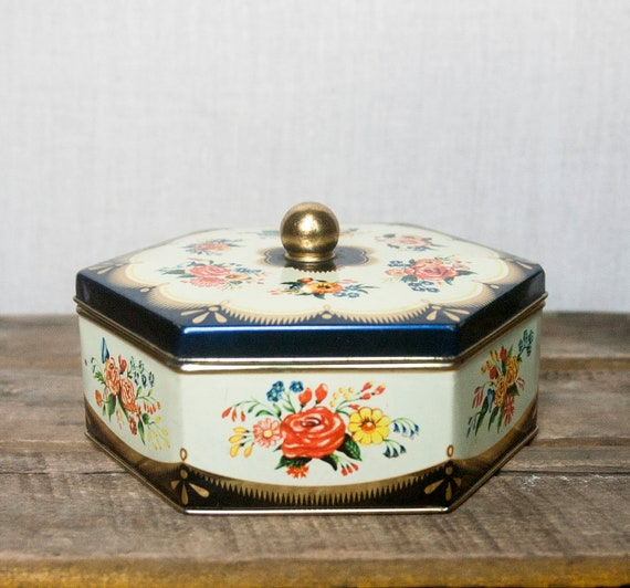 Vintage Tin Trinket or Jewelry Box- Floral Pattern West Germany