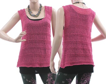 Loose hand knitted tank top in pink, cotton mix tank top, textured hand knit cotton pink / lagenlook for small to medium size women, US 8-12
