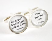 Bible verse Every good gift is from above personalized groom wedding date cufflinks - stainless steel and will not tarnish
