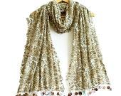 Soft cotton leopard scarf, Leopard shawl, Brown, Rectangle fabric scarf, Tassels scarf, Soft, Elegant, Thin fabric shawl