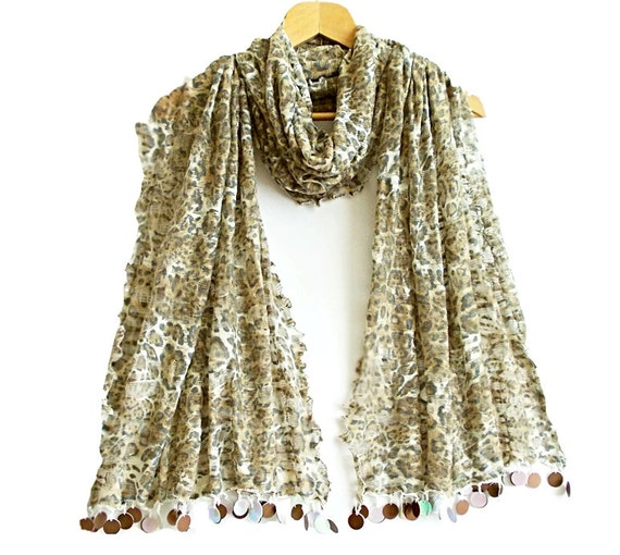 Soft cotton leopard scarf, Leopard shawl, Brown, Rectangle fabric scarf, Tassels scarf, Soft, Elegant, Thin fabric shawl
