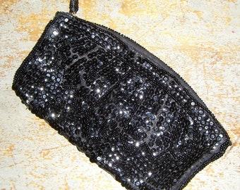 Vintage Purse,  Black, Sequin, Clutch, Simon, Hand Bag, Black Sequin Clutch